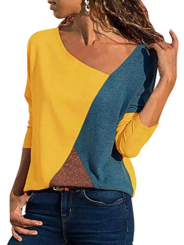 Minetom Damen Casual Patchwork Farbblock Langarm T-Shirt Asymmetrischer V-Ausschnitt Langarmshirt Tops Tunika Lose Pullover Bluse Oberteil Gelb DE 48
