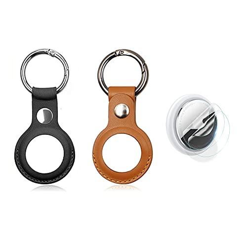 Funda protectora para AirTag Bluetooth Tracker Cover, 2 unidades de dispositivo anti-perdida para Airtag Finder con llavero de metal, funda de cuero suave para soporte Airtags