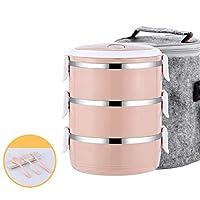 キッズスクール-4_Layer_Pink_-_セットの熱ポータブルステンレススチール製食品容器漏れ防止日本の弁当箱プラスチック製のランチボックスサーモス3 4レイヤ CT55CT (Color : 3 Layer Pink Set)