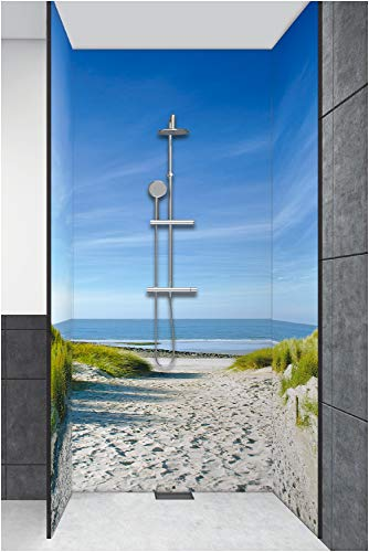Artland Duschrückwand Eck mit Motiv Fliesenersatz Alu Rückwand Dusche Duschwand Bad 270x200 cm Natur Strand Nordsee Meer Landschaft Sand Dünen T9EX