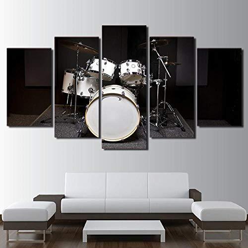 XXQBH 200 * 100 CM Instrumento musical tambor instrumento musical Cuadro de pintura al óleo de con estampado moderno de 5 paneles, Cuadros de decoración, lienzo, arte de pared para sala de estar