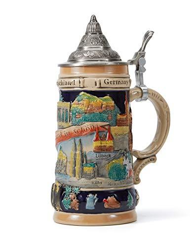 Amoy-Art Boccale da Birra Tedesco con Coperchio German Beer Stein Mug Relief Germania Città Regalo Souvenir Giftbox 0.6Litre