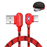 USB c Fast Charger 5A Quality 90 Degree led 3in1 Pack (4feet/6feet/10feet) vodbov Type c braiding Braided Cable USB-C to USB-A Compatible for Samsung s20 MacBook (Red) + Hand Bag