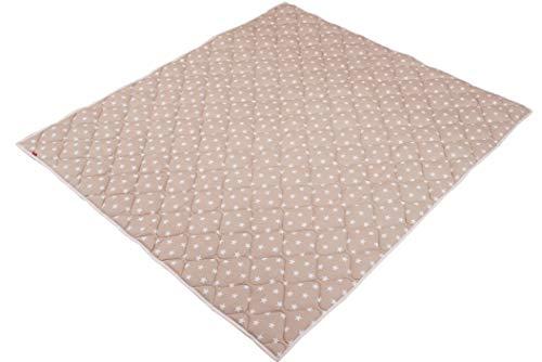 IDEENREICH Baby Krabbeldecke Krabbeltraum| Sterne beige| RUTSCHFEST | 130x150cm | ideal als Spieldecke, Krabbeldecke und Laufgittereinlage