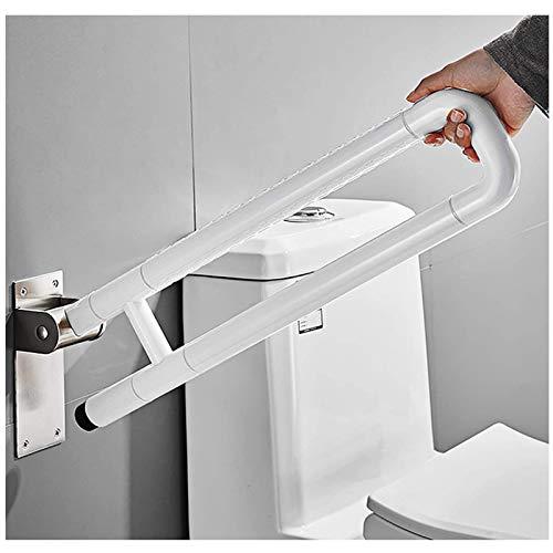 EEUK Barra baño minusvalido abatible para Baño Manija de la Ducha de Acero Inoxidable para Niños y Personas Mayores o enfermas, Capacidad de Carga máx. 120 kgwhite-75cm