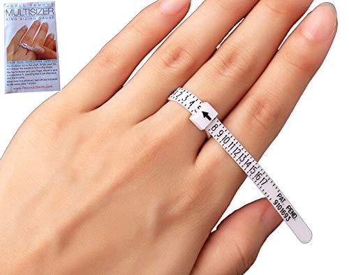 Finger Measuring Tool - Ring Sizer Gauge (1-17 USA Ring Sizer) for Women, Men & Kids / Measure Your Ring Size @ Home