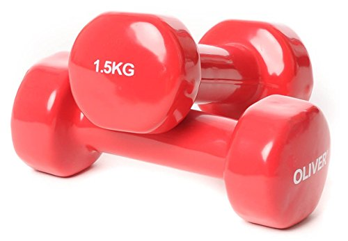 OLIVER Kurzvinylhantel, rot, OL1052049B12,2 x 1,5 kg