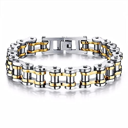 BECCYYLY Bracelet Stainless Steel Biker Chain Bracelet Mens Bracelet Motorcycle Style Bracelets Fashion Bangles