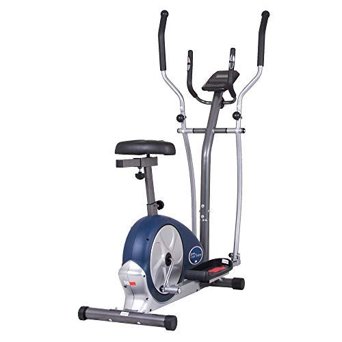 Body Champ 2-in-1 Upright Exercise Bike and Elliptical Trainer with Seat, Heart-Rate Monitor, and Programmable LCD Console, BRM3671