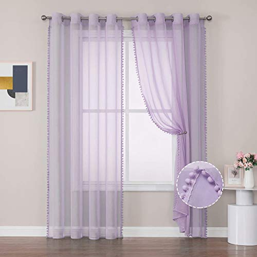Selectex Linen Look Pom Pom Sheer Curtains - Grommet Semi-Sheer Drapes Tasseled Voile Curtains for Bedroom and Living Room, Lilac, 52x63 inches Long, Set of 2 Panels