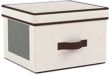 Household Essentials 536 Dinnerware Storage Box with Lid and Handles | Storage Bin for Dinner Plates | Natural Canvas with Br