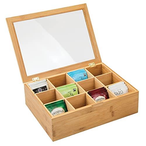 mDesign Teebox aus Holz – Teekiste mit 12 Fächern für die Teebeutel Aufbewahrung – praktische Box mit Sichtfenster im Deckel – bambusfarben