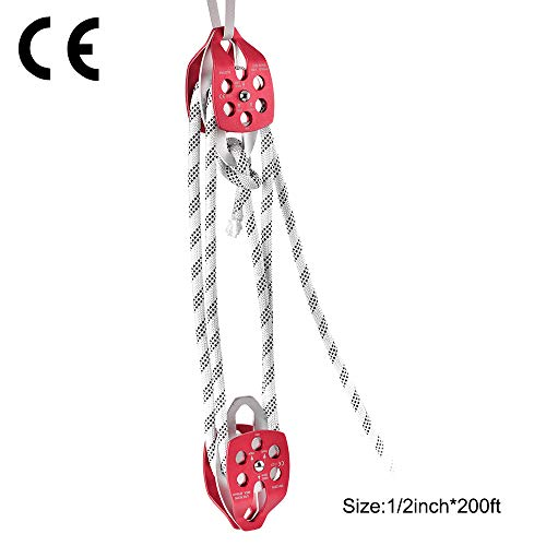 TOPQSC Cuerda de escalada Rigging polea doble Polea y polea doble 12mm 200Ft Polea doble con cuerda de trenzado 30-35KN 6600-7700LBS
