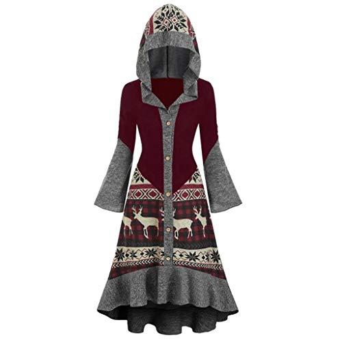 SUMTTER Mittelalter Kleid Damen Vintage Gothic Kleidung Damen Retro Umhang Kostüm Damen Große Größen für Halloween Karneval Weihnachten (Wein3, L)