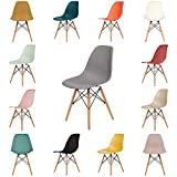 OCHS Retro Eiffel Dining Chair Plastic Seat with Wood Legs for Office Lounge Dining Kitchen Bedroom (Mid Grey)