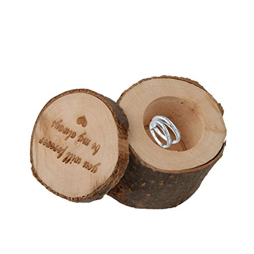 PIXNOR Caja para Anillo, de madera, para anillo de boda, rústica