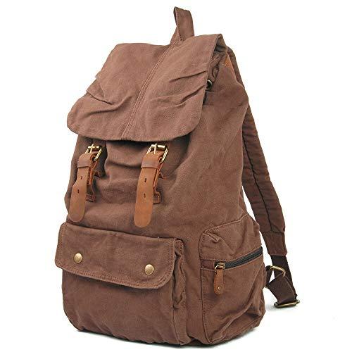 Cuero genuino Casual impermeable del bolso del cuaderno diario de gran capacidad encerado Moda mochila de lona Tríptico (Color : Brown, Size : 27cm*16cm*50cm)