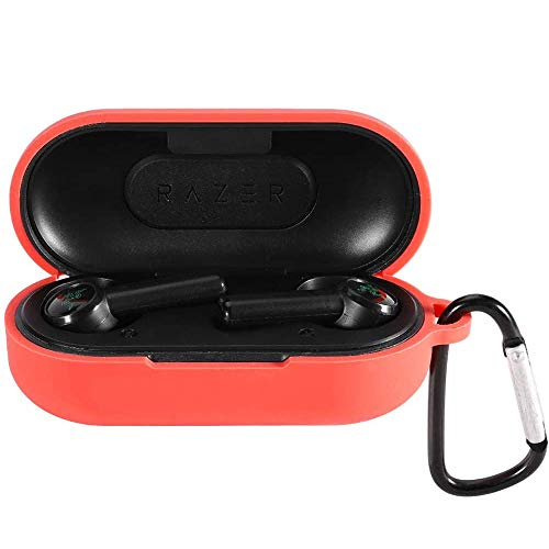 LvBu Silikonhülle Kompatibel mit Razer Hammerhead True Wireless [Stoßfeste Schutzhülle] [Ideal Passt Hülle] (Rot)