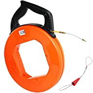 Boeray 100 Ft Fish Tape Fiberglass 4mmx30m Electrical Fish Tape Reel Great for Pull Communication Wire Cable Line Long Runs Orange