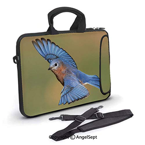 10 inch Laptop Shoulder Bags,Male Eastern Bluebird Flying Closeup Photo,Waterproof,Portable,Compatible iPad,MacBook Pro,Air,Surface