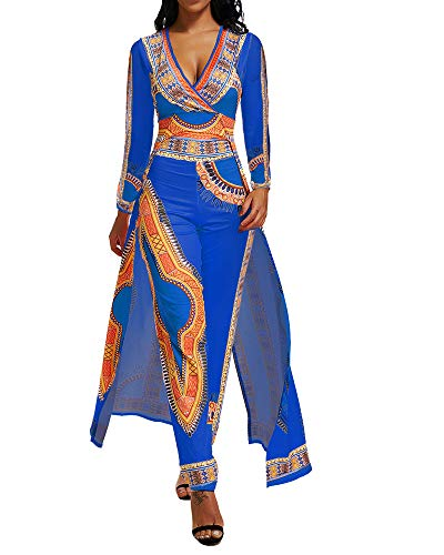 Jumpsuits for Women Long Sleeve Casual Dashiki African Print Overlay Jumpsuit for Party Formal Pants Suits Blue L