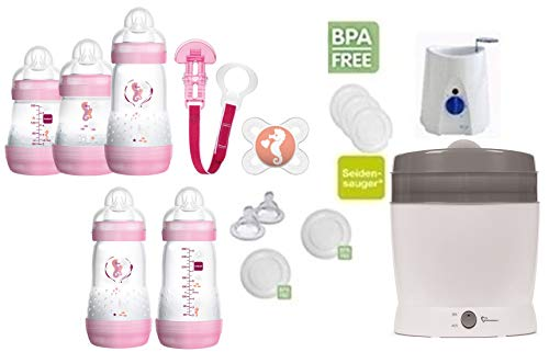 MAM primamma Set 6 - Startset - MAM Flaschen Sauger primamma Vaporisator Babykostwärmer 20 teilig - Mädchen