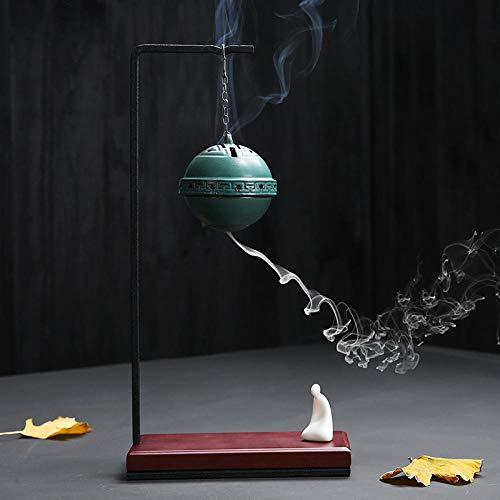 BIKCVA Colgante de la Parte Posterior del Quemador de Incienso Colgando de cerámica cerámica Creativa Zen Incienso Quemador Bola de aromaterapia Madera de agar