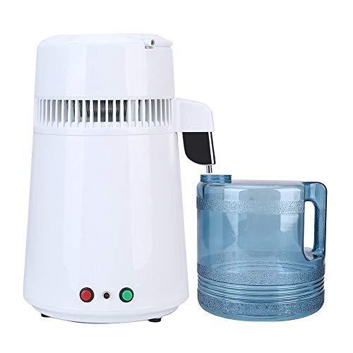 UFLIZOGH Destilliergerät Wasser 4L Edelstahl Innere 750W Wasserdestillierer mit Glaskanne Wasserfilter mit Griff für Zuhause Arbeitsplatte Labor (Weiß)