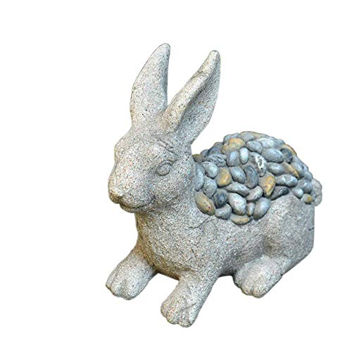 Gymqian Decorations Garden Statue, Hare Sculpture Outdoor Lawn Imitation Stone Resin Retro Animal Decoration Decoration Accessories