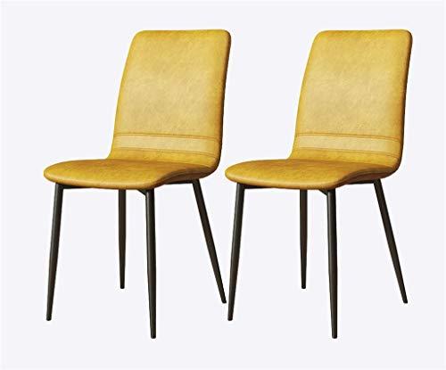 YF Silla de comedor de lujo de piel sintética, respaldo de metal, verde, apto para cocina, comedor, sala de estar, sala de estudio (color: negro pies amarillos)