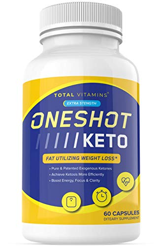 One Shot Keto Weight Loss Management Pills - Advanced Keto Diet Supplement with BHB - Pure Keto Fast - Ultra Boost Exogenous Ketones for Rapid Ketosis - One Shot Extra Strength Keto for Men Women 60ct