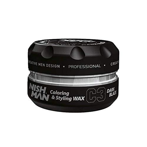 NISHMAN C3 Coloring Hair Styling Wax - Cera para el pelo, color negro oscuro, 150 ml