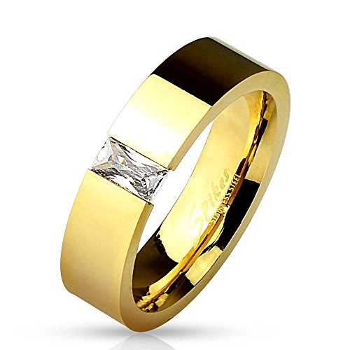 Bungsa 64 (20.4) Ring Gold mit rechteckigem Kristall Stein (Edelstahl Damen Fingerring Partnerringe Verlobungsringe Trauringe Damenring Edelstahlring Chirurgenstahl)