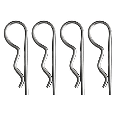 Pack of 4 Stainless Steel R Retaining Clip Hitch Pin Spring Cotter Pin 2 Sizes for Choose - 4x80mm