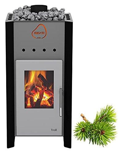 ISIDOR Premium Gartensauna Fortuna Holz- Saunaofen Troll mit 7,8 kW Heizleistung; Outdoorsauna mit 4,1m² großem Saunaraum und großer Veranda für EIN puristisches Saunavergnügen