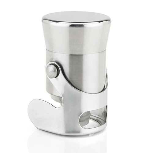 Viski 4699 Professional Heavyweight Champagne Bottle Stopper Cart, Bar, Cocktail Drinkware Accessory, Silver, Set of 1