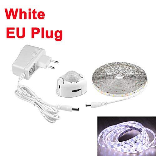 Baby kamers nachtlampje Pir Motion Sensor Led Strips Licht Onder Bed Trappenkast Keuken Safe Noodverlichting Thuis Decor-EU Plug White_5M