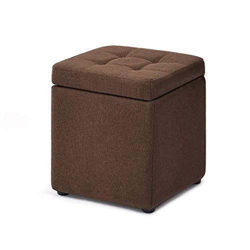 ykw Fußhocker Fußhocker Aufbewahrungsbox Cube Pouffe Chair Square mit Deckel und abnehmbarem Leinenbezug