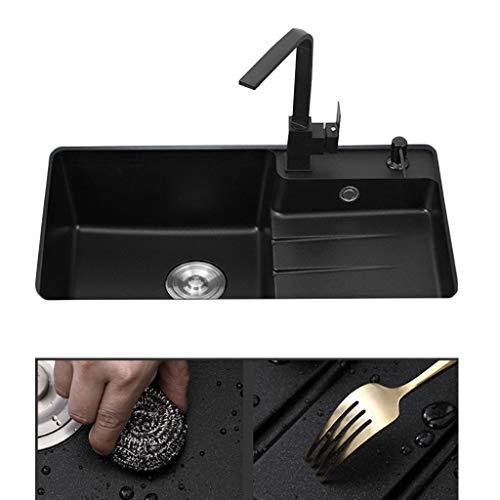 Gootsteenontstoppers Quartz Stone Sink Huishoudelijke Producten, Cup Wastafel Zwart Granieten Sink Olie-proof Anti-kras Geschikt For Bars Keukens (Color : Black, Size : 86 * 48cm)