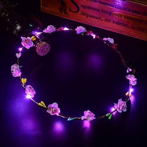 RENNICOCO LED Flor Corona Diadema 10 LED Luminoso Floral Flor Guirnalda Mujeres Chicas Bohemia Corona Tocado Fiesta...