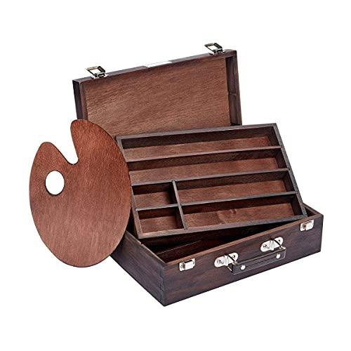KINGART 2 Tier (Espresso) Wooden Artist Storage Box, One Size