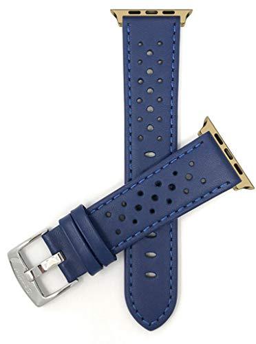 Correa de repuesto para reloj de Apple Watch, extra larga (XL), compatible con Apple Watch Series 5, 4, 3, 2, 1 y correa iWatch – Rally ventilado, conector azul/dorado – 42 mm/44 mm