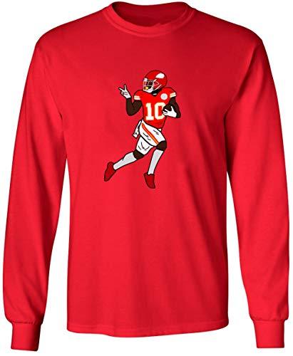 Long Sleeve RED Kansas City Hill Peace Touchdown T-Shirt Adult