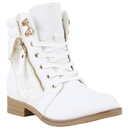 stiefelparadies Damen Stiefeletten Schnürstiefeletten Worker Boots Zipper Schuhe 142058 Weiss Autol 35 Flandell