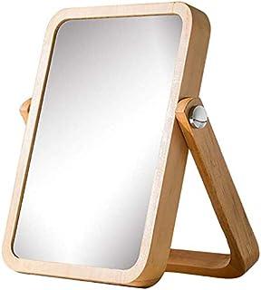 Wooden Makeup Mirror Desktop Single-Sided Vanity Mirror Large Beauty Mirror Portable Mirror Desktop Mirror HD Girl Bedroom Mirror