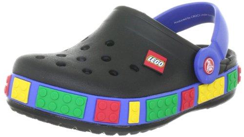 Crocs crocband lego clog (toddler/little kid),black/sea blue,4-5 m us toddler