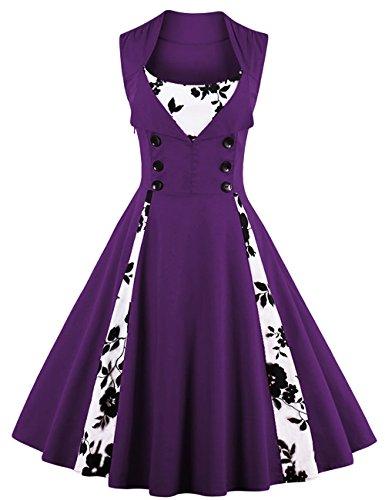VKStar Vintage 50er Jahre Rockabilly Kleid Blumenkleid Damen Ärmellos Retro Swing Elegantes...