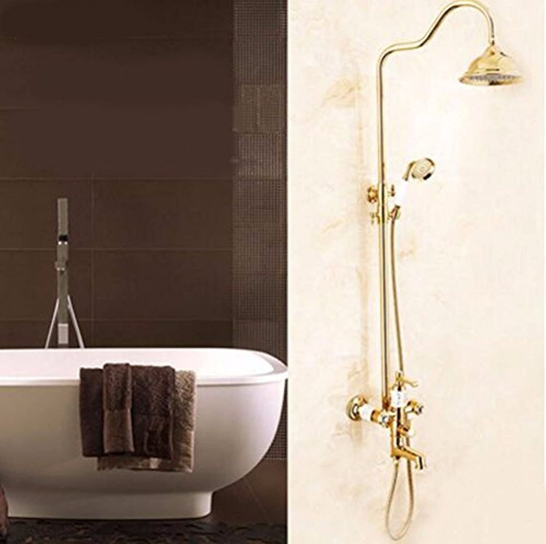 MMYNL Badarmaturen thermostatische Dusche Set Badewanne & Dusche Systeme antiken Dusche Kupfer Warmes und Kaltes Wasser Kupfer Wasserhahn