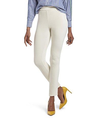 HUE Women's Corduroy Leggings, Assorted, High Waist - White Satin, XL