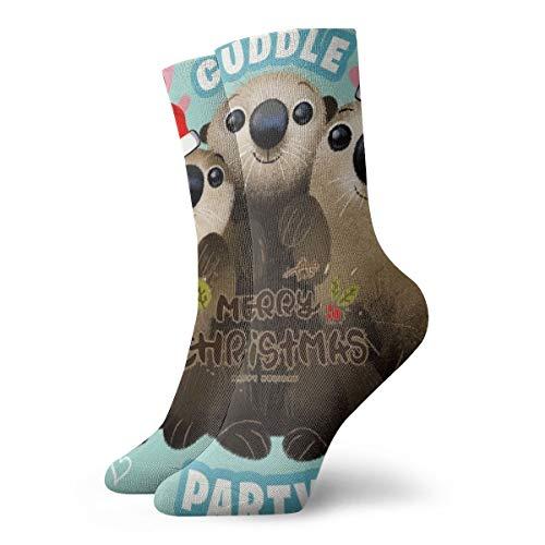 BJAMAJ Unisex Sokken Otters Knuffel Kerstmis Interessant Polyester Crew Sokken Volwassene Sokken Katoen
